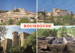 CP - PHOTO - ROCHEGUDE - VUE GENERALE DU CHATEAU - TOUR DU CHATEAU - LES VIGNES VENDANGEES - NEP - MULTIVUES - France
