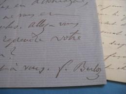 LETTRE AUTOGRAPHE SIGNEE DE FRANCOIS BULOZ 1868 FONDATEUR REVUE DES 2 MONDES + LAS CHARLES  Fonds SAINT-RENE TAILLANDIER - Autógrafos