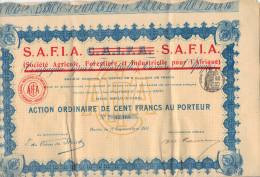 Action De 100 Francs SAFIA Ex CAIFA Société Agricole Forestière Et Industrielle Pour L´ Afrique Avec Tous Les Coupons - Afrique
