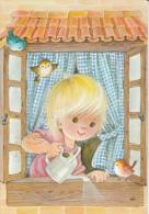 Birds At The Window Fantasy Postcard 2scans - Illustrators & Photographers