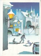 Fantaisie D`hiver Winter Sledge Dog Lamp Postcard 2scans - Illustrators & Photographers