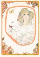 Postcard Femme A Chapeau Fantaisie Papillons Fleurs - Illustrators & Photographers