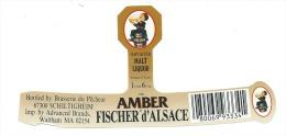 Etiquette Biere Fischer Schiltigheim  Amber  Waltham MA - Bière