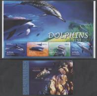 MALDIVES ,2004, MNH, MARINE MAMMALS , DOLPHINS,   SHEETLET+ S/SHEET - Dolphins
