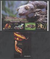 MALDIVES ,2004, MNH,REPTILES , LIZARDS, SNAKES, FROGS,  SHEETLET+ S/SHEET, BEAUTIFUL! - Snakes