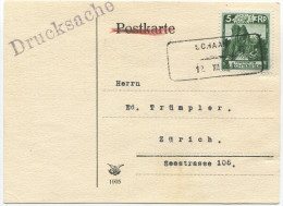 348 - Aushilfstempel SCHAAN 12.XII.31 Auf Drucksachen-Karte - Poststempel - Freistempel