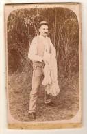 CDV Photo Originale 19ème Homme Chasseur Pêcheur ? Filet Cdv264 - Anciennes (Av. 1900)