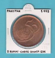 PAKISTAN  5  RUPIAS  1.995  COBRE   KM#59   EBC/XF      DL-8406 - Pakistán