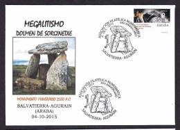 SPAIN ESPAGNE 2015. SPECIAL POSTMARK. ARCHEOLOGY. MAGALITHIC BUILDING DOMEN OF AURAIN. 2500 B.C - Archaeology