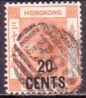 HONG KONG 1885 SG #40 20c On 30c Used Corner Fault - Hong Kong (...-1997)