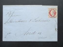 Altdeutschland Bremen 1863 Hannoversches Postamt Nr. 14 EF Sauberer Vollstempel. Blauer Stempel. Nach Norden!! - Bremen