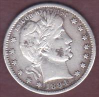 ETATS-UNIS .QUARTER DOLLAR 1894 S (San Francisco) .BARBER .ARGENT . - 1892-1916: Barber