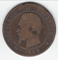 **** 10 CENTIMES 1853 K BORDEAUX NAPOLEON III TETE NUE **** EN ACHAT IMMEDIAT - Francia