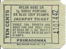 Early Primadonna Casino Paper Jackpot Bonus Ticket - Free Hose, Perfume Or Stamps - Casino Cards