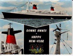 PAQUEBOT LE FRANCE BONNE ANNEE HAPPY NEW YEAR - Piroscafi