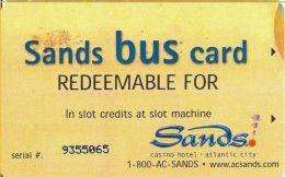 Sands Casino Atlantic City NJ - $17 Paper Bus Card - Reverse Black Logo - Casino Cards