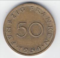 **** SARRE - SAARLAND - 50 FRANKEN 1954 **** EN ACHAT IMMEDIAT !!! - Sarre