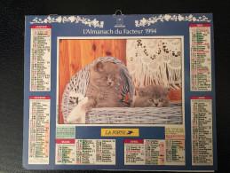 Calendrier Almanach Du Facteur 1994, Chats Intérieur PARIS - Calendriers