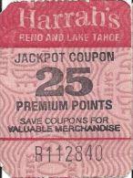 Harrah´s Reno/Lake Tahoe 25 Point Jackpot Coupon - $110,000,000 Jacpots Paid - Casino Cards