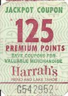 Harrah´s Reno/Lake Tahoe - 125 Point Jackpot Coupon - You Win More Jackpots - Casino Cards