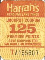 Harrah´s Reno/Lake Tahoe - 125 Point Jackpot Coupon - Casino Cards