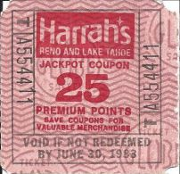 Harrah´s Reno/Lake Tahoe - 25 Point Square Jackpot Coupon - Void After June 30, 1983 - Casino Cards