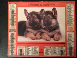 Calendrier Almanach Du Facteur 1992, CHATS Et CHIENS , Intérieur Ile De France - Calendriers