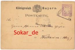 Bayern Ganzsache Homburg Pfalz - Westheim 1879 HK-Stempel Homburg HK-Stempel Lingenfeld Speyer - Bayern (Baviera)