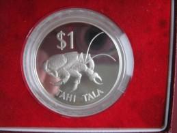Tokelau 1980 Silver Proof 1$ Dollar Tahi Tala Coconut Crab In Original Box - Monnaies