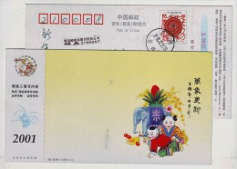 Propitious Elephant,chinese Doll,fruit Fingered Citron,China 2001 Jiangsu New Year Advertising Pre-stamped Card - Elephants