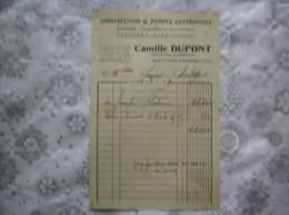 SAILLY LEZ CAMBRAI CAMILLE DUPONT CONSTRUCTION DE POMPES CENTRIFUGES  MECANICIEN ELECTRICIEN FACTURE DU 19/8/1949 - 1900 – 1949