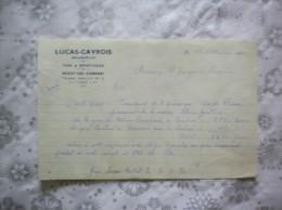 SAILLY LEZ CAMBRAI LUCAS-CAVROIS BRASSEUR VINS & SPIRITUEUX COURRIER DU 17 OCTOBRE 1950 - Francia