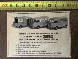 PUB PUBLICITE NOREV AUTOS MINIATURES  CAMIONNETTE CITROEN 1200 KG FLEURY MICHON LAVIX - Vecchi Documenti
