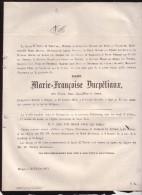 BRUGES OOSTKAMP Marie-Françoise DUCPETIAUX épouse PEERS De NIEUBURGH 65 Ans En 1871 Doodsbrief - Décès
