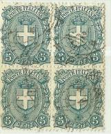 LDR11 - ITALIE REGNO  UMBERTO I EMISSION DE 1896/97 5c EN BLOC DE QUATRE  OBLITERE - 1878-00 Humbert I