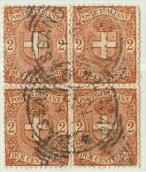 LDR11 - ITALIE REGNO  UMBERTO I EMISSION DE 1896/97 2c EN BLOC DE QUATRE  OBLITERE - 1878-00 Humbert I