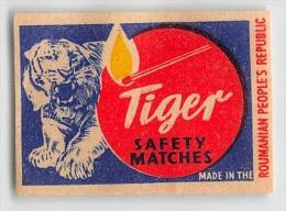 """04590 """"TIGER SAFETY MATCHES - MADE IN ROUMANIAN PEOPLE´S REPUBLIC"""" ETICHETTA ORIGINALE. - Scatole Di Fiammiferi - Etichette"""