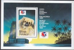 TUVALU, 1994 PHILAKOREA DOG MINISHEET MNH - Tuvalu (fr. Elliceinseln)