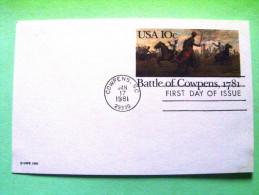 USA 1981 FDC Stationery Postcard - Battle Of Cowpens - Horses - Etats-Unis