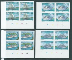British Virgin Islands 1986 Cruise Ship Set Of 4 Imperforate Plate Number Blocks Of 4 MNH - British Virgin Islands