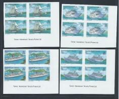 British Virgin Islands 1986 Cruise Ship Set Of 4 Imperforate Imprint  Blocks Of 4 MNH - British Virgin Islands