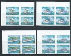 British Virgin Islands 1986 Cruise Ship Set Of 4 Imperforate Blocks Of 4 MNH - British Virgin Islands