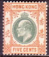 HONG KONG 1903 SG #65 5c MH CV £22 Wmk Crown CA - Unused Stamps