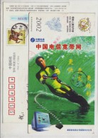 Water-skiing,computer,China 2002 Hunan Telecom Internet Service Advertising Pre-stamped Card