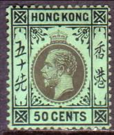HONG KONG 1924 SG #128 50c MH CV £32 Wmk Script Crown CA - Hong Kong (...-1997)