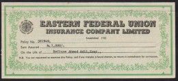 The Eastern Federal Union Insurance Company, Pakistan, Old Revenue Document 1971 - Bank & Insurance
