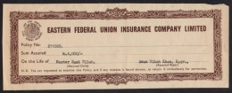The Eastern Federal Union Insurance Company, Pakistan, Old Revenue Document 1978 - Bank & Insurance