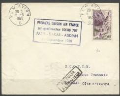 PREMIERE LIAISON PARIS DAKAR ABIDJAN - Lettres & Documents