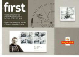ROYAL MAIL COMMUNICATION STAMPS TIMBRES EMISSION SHACKLETON AND THE ENDURANCE EXPEDITION - Polar Exploradores Y Celebridades