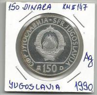 Gh2 Yugoslavia 150 Dinara 1990.PROOF .925 Silver 17g 29th Chess Olympiad Commemorative Silver Coin KM#147 - Jugoslawien